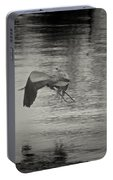 Blue Heron In Platinum Portable Battery Charger