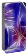 Blue Hibiscus Fractal Panel 4 Portable Battery Charger