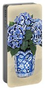 Blue Hydrangeas In A Pot On Parchment Paper Portable Battery Charger