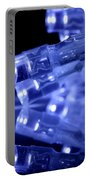 Blue Led Lights Closeup With Reflection Portable Battery Charger