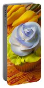 Blue Rose Cup Cake Portable Battery Charger