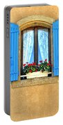 Blue Shutters In Provence Portable Battery Charger