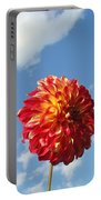 Blue Sky Nature Art Prinst Red Dahlia Flower Portable Battery Charger