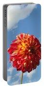 Blue Sky White Clouds Floral Art Prints Dahlia Flowers Portable Battery Charger