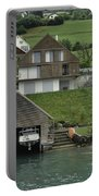 Boat House On A Mountain Slope On The Shore Of Lake Lucerne In Switzerland Portable Battery Charger
