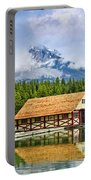 Boathouse On Mountain Lake Portable Battery Charger