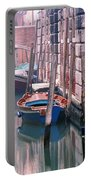Boats Bridge And Reflections In A Venice Canal Portable Battery Charger