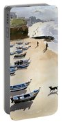 Boats On The Beach Portable Battery Charger by Lucy Willis