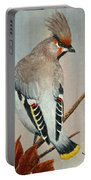 Bohemian Waxwing Study  Portable Battery Charger