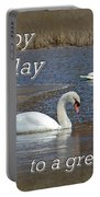 Boss Birthday Card - Mute Swans On Winter Pond Portable Battery Charger