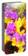 Bouquet Of Sunflowers And Purple Statice Portable Battery Charger