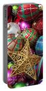 Box Of Christmas Ornaments With Star Portable Battery Charger