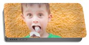 Boy Having Ice Cream Portable Battery Charger