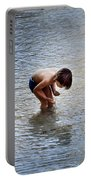 Boy Playing In The Pond Portable Battery Charger
