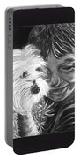 Boy With Pet Dog Portable Battery Charger