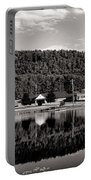 Brant Lake Reflections Black And White Portable Battery Charger