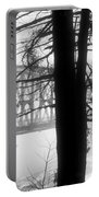 Bridge In The Fog Bw Portable Battery Charger