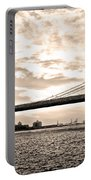 Brooklyn Bridge In Sepia Portable Battery Charger