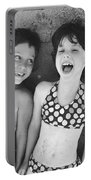 Brother And Sister On Beach Portable Battery Charger