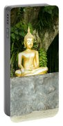 Buddha Statue Under Green Tree In Meditative Posture Portable Battery Charger