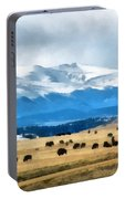 Buffalo Herd Painterly Portable Battery Charger