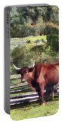 Bull In Pasture Portable Battery Charger by Susan Savad