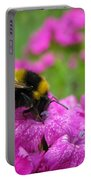 Bumble Bee Searching The Pink Flower Portable Battery Charger