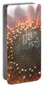 Burgundy Sunflower In Sun Rays Portable Battery Charger