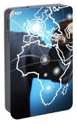 Businessman Touching World Map Screen Portable Battery Charger