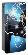 Businessman Touching World Map Screen Portable Battery Charger by Setsiri Silapasuwanchai