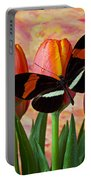 Butterfly On Orange Tulip Portable Battery Charger