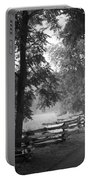 Cades Cove Tennessee In Black And White Portable Battery Charger