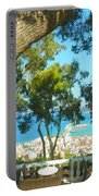 Cafe Terrace At Bohali Overlooking Zante Town Portable Battery Charger