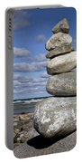 Cairn At North Point On Leelanau Peninsula In Michigan Portable Battery Charger