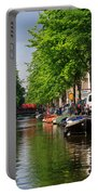 Canal Scene In Amsterdam Portable Battery Charger