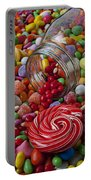 Candy Jar Spilling Candy Portable Battery Charger by Garry Gay