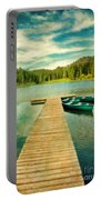Canoes At The End Of The Dock Portable Battery Charger