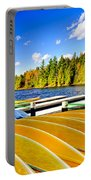 Canoes On Autumn Lake Portable Battery Charger