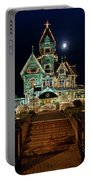 Carson Mansion At Christmas With Moon Portable Battery Charger