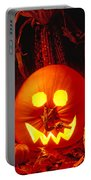 Carved Pumpkin With Fall Leaves Portable Battery Charger