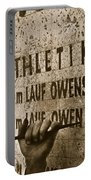 Carving The Name Of Jesse Owens Into The Champions Plinth At The 1936 Summer Olympics In Berlin Portable Battery Charger