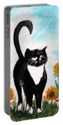 Cat Walk Through The Sunflowers Portable Battery Charger