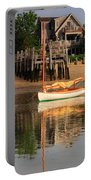 Catboat And Rippled Water Reflections Portable Battery Charger