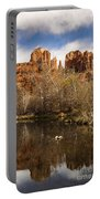 Cathedral Rock Reflections Portrait 1 Portable Battery Charger by Darcy Michaelchuk