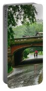 Central Park In The Rain Portable Battery Charger