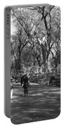 Central Park Mall In Black And White Portable Battery Charger