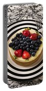 Cheese Cake On Black And White Plate Portable Battery Charger