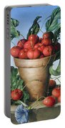 Cherries In Terracotta With Blue Flower Portable Battery Charger