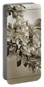Cherry Blossoms Sepia Portable Battery Charger