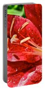 Cherry Red Lily Portable Battery Charger